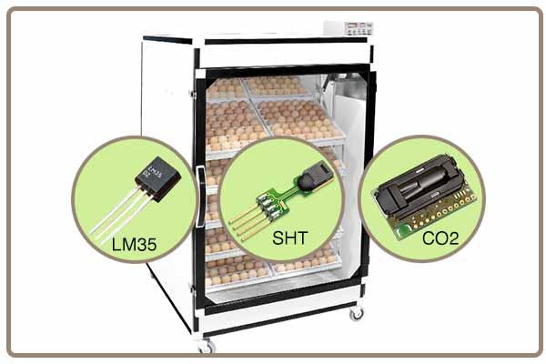 مجهز بودن دستگاه جوجه کشی 1008 تایی به سنسور sht و دو عدد سنسور lm35