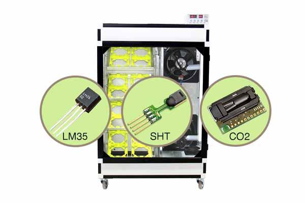 سنسور sht سوئیس و lm35 در دستگاه جوجه کشی شترمرغ 16 تایی هواباتور